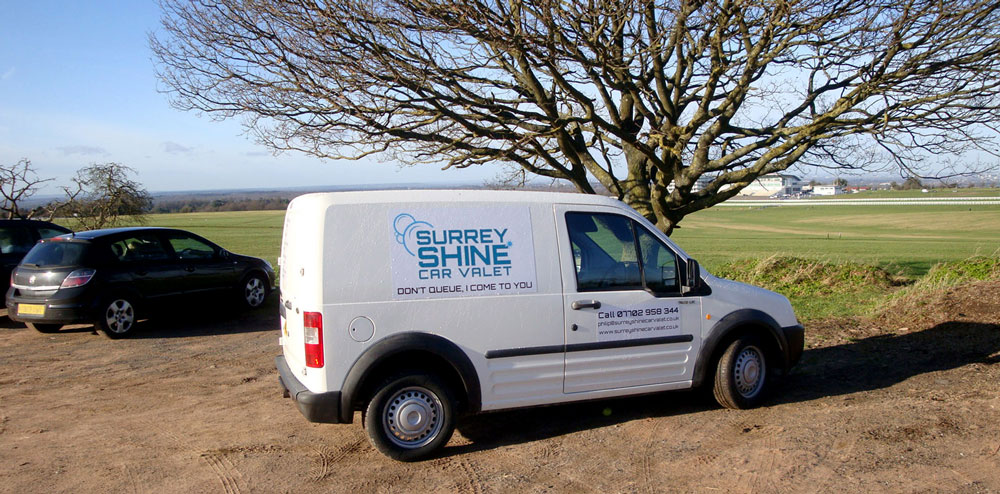 Surrey Shine Car Valet van on Epsom Downs