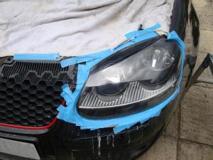 VW Golf GTi Cloudy Headlamp Restoration - After (right)