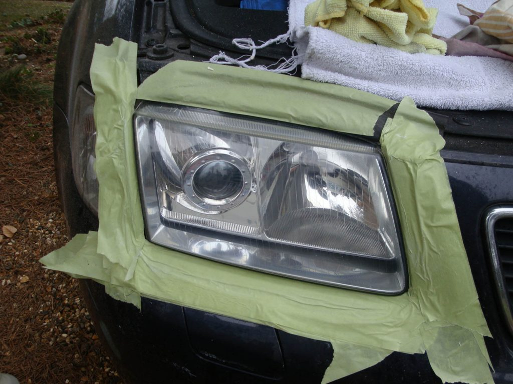 Audi A3 cloudy/yellow headlight - After