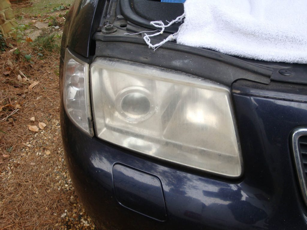 Audi A3 cloudy/yellow headlight - Before
