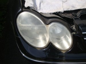 Mercedes CLK cloudy/yellow headlight Surrey - Before