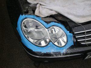 Mercedes CLK cloudy/yellow headlight Surrey - After
